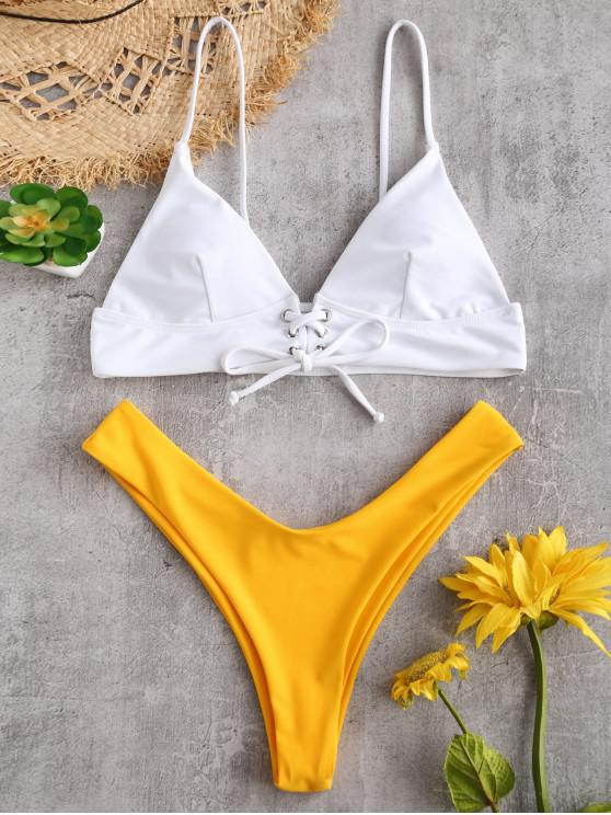 womens ZAFUL Lace Up Color Block High Leg Bikini Set - RUBBER DUCKY YELLOW M