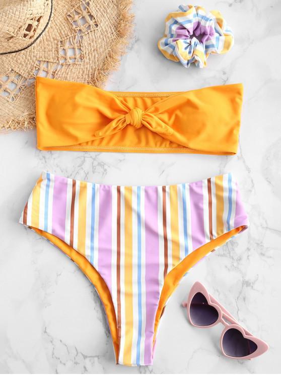 shops ZAFUL Knotted Colorful Striped Bandeau Bikini Set - BRIGHT YELLOW L