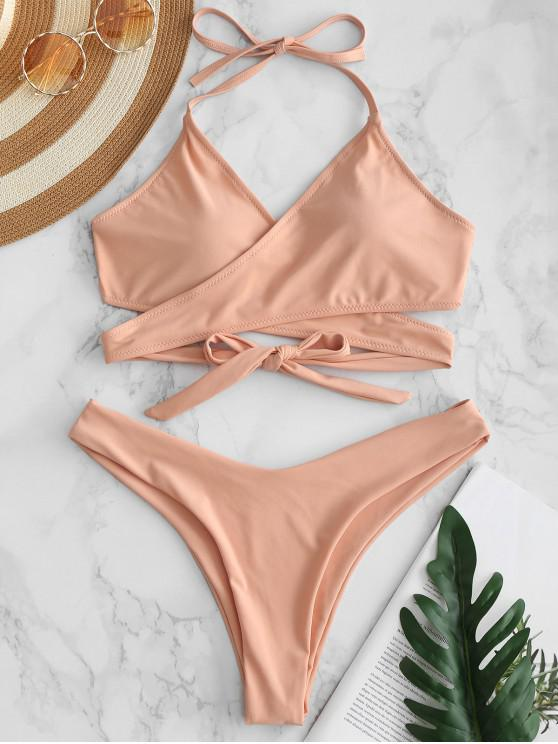 c7626ab9dabec 14% OFF] 2019 ZAFUL High Leg Wrap Bikini Set In DEEP PEACH | ZAFUL