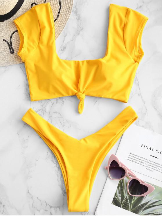 trendy ZAFUL Short Sleeve Knotted Bikini Set - BRIGHT YELLOW S