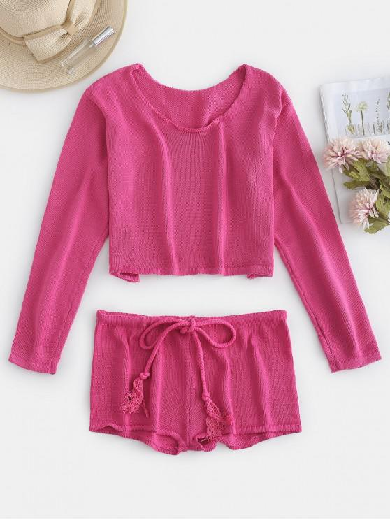 unique Crop Drop Shoulder Sweater and Shorts Set - PINK CUPCAKE ONE SIZE