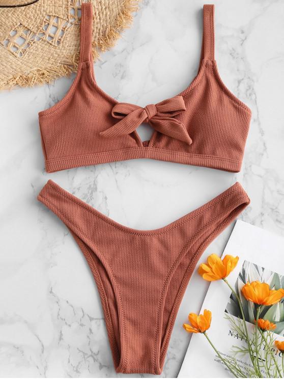 shops ZAFUL Keyhole Knotted Ribbed Bikini Set - CHESTNUT RED L