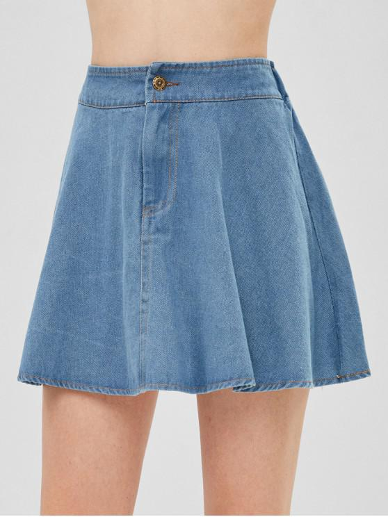 trendy A Line Denim Skirt - JEANS BLUE ONE SIZE
