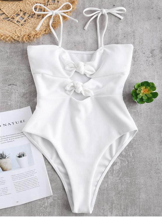 womens ZAFUL Ribbed Knotted Cami Swimsuit - WHITE S