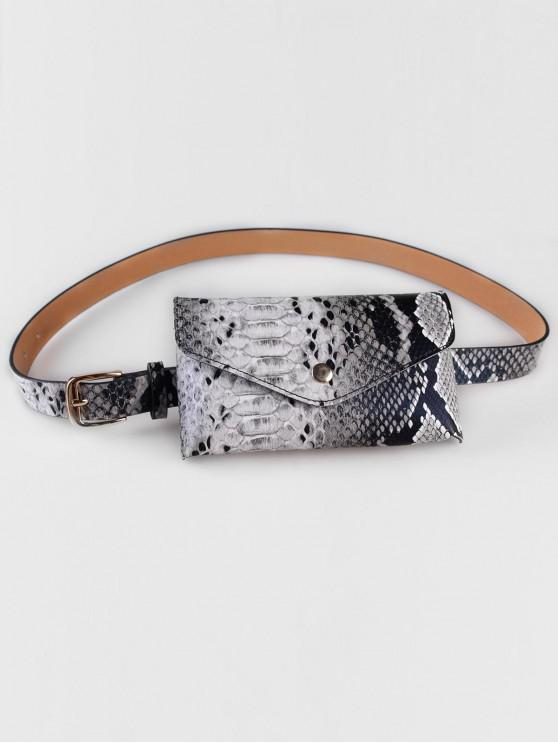 new Vintage Snake Pattern Fanny Pack Belt Bag - GRAY