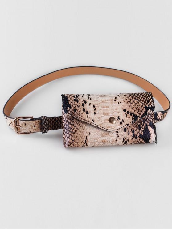 lady Vintage Snake Pattern Fanny Pack Belt Bag - CAMEL BROWN