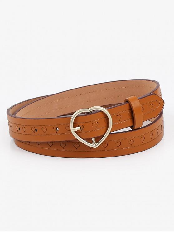 buy Elegant Heart Buckle Faux Leather Belt - BROWN