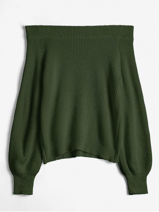 Schulterfreier Laterne Ärmel Pullover - Armeegrün Eine Größe
