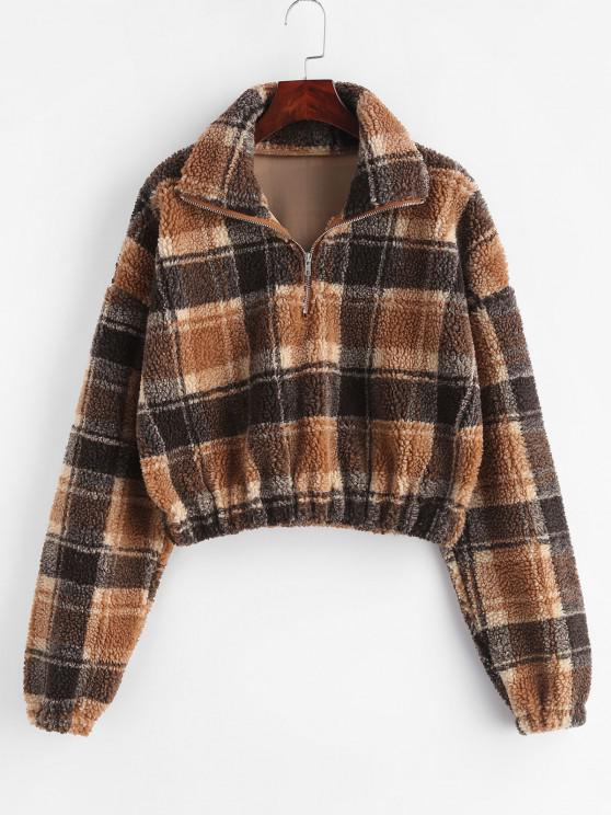 affordable Plaid Crop Faux Fur Sweatshirt - MULTI M