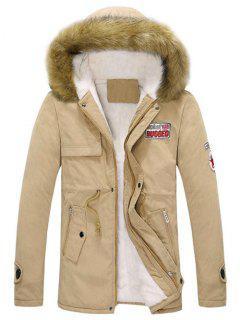 Faux Fur Hood Fluffy Lined Jacket - Khaki Xs
