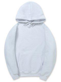 Solid Color Kangaroo Pocket Fleece Pullover Hoodie - White M