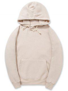 Solid Color Kangaroo Pocket Fleece Pullover Hoodie - Apricot S