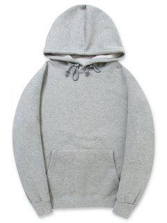 Solid Color Kangaroo Pocket Fleece Pullover Hoodie - Gray Cloud M