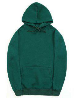 Solid Color Kangaroo Pocket Fleece Pullover Hoodie - Medium Sea Green S