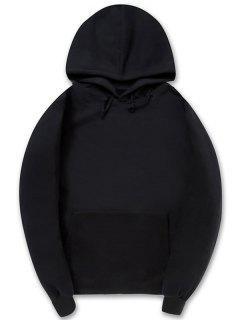 Solid Color Kangaroo Pocket Fleece Pullover Hoodie - Black M