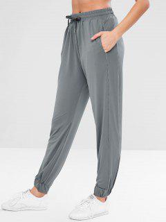 ZAFUL Drawstring Sport Sweatpants - Slate Gray L