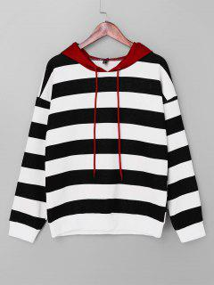 ZAFUL Contrast Striped Drawstring Hoodie - Multi S