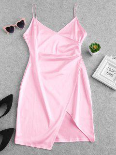 Cami Draped Crossover Slip Party Dress - Pink M