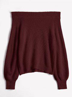 Aus Der Schulter Laterne Ärmel Pullover Pullover - Roter Wein