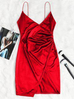 Robe à Bretelles Croisées Drapées - Rouge Lave Xl