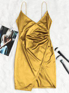 Cami Draped Crossover Slip Party Dress - Gold M