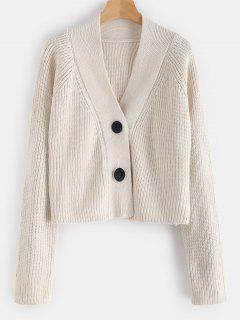 Button Up Loose Chunky Cardigan - Beige