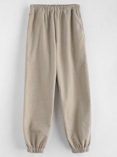 Pantalones De Chándal Lisos De Talle Alto - Caqui Claro S