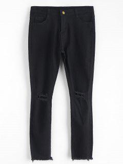 Ripped Frayed Hem Capri Jeans - Black S