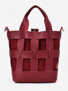 2Pcs Hollow Design Bucket Handbag - Red Wine