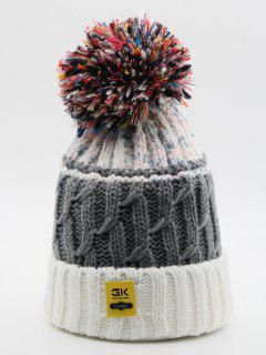Fuzzy Ball Knitting Winter Knit Hat - White
