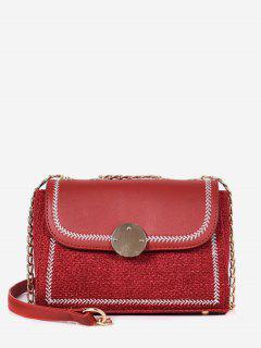 Woven Design Round Hasp Crossbody Bag - Red