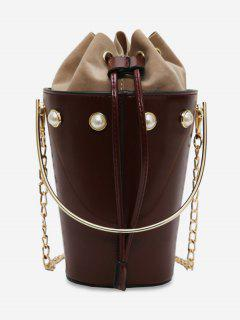 Rivet Design Link Chain Bucket Mini Handbag - Deep Coffee