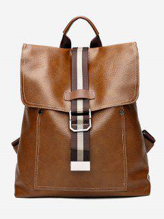 Large Capacity With Striped Pattern Backpack - Brown