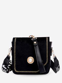 Threaded Letter Wideband Design Crossbody Bag - Black