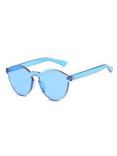 Stylish Rimless Clear Lens Sunglasses - Light Sky Blue