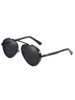Retro Metal Frame Crossbar Pilot Sunglasses - Black