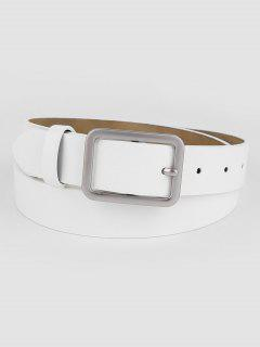 Vintage White Faux Leather Silver Buckle Belt - White