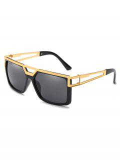 Stylish Alloy Crossbar Hollow Out Frame Sunglasses - Black Eel