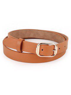 Solid Color Metal Buckle Skinny Belt - Brown