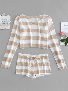 Striped Crop Sweater And Shorts Set - Tan