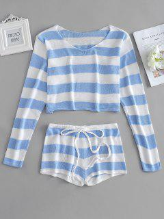 Gestreifter Crop Sweater Und Shorts Set - Helles Himmelblau