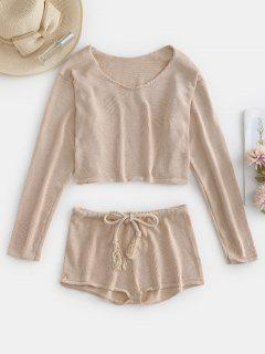Crop Drop Shoulder Sweater And Shorts Set - Tan