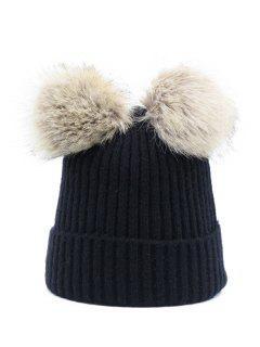 Winter Fuzzy Ball Knitting Slouchy Beanie - Black