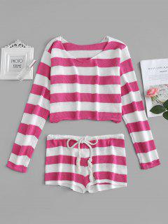 Gestreifter Crop Sweater Und Shorts Set - Rosa Cupcake