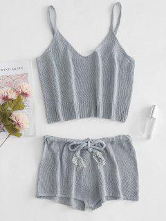 Knitted Crop Camisole And Shorts Set - Gray Cloud