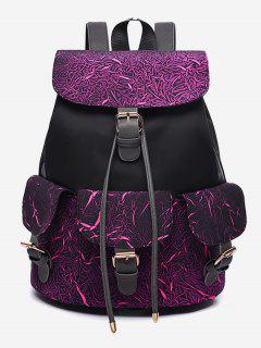 Letter Pattern Wideband School Backpack - Pale Violet Red