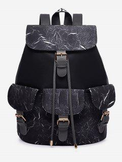 Letter Pattern Wideband School Backpack - Black