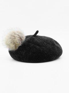 Elegant Fuzzy Ball Decorative Beret - Black