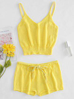 Knitted Crop Camisole And Shorts Set - Yellow