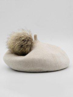 Elegant Fuzzy Ball Decorative Beret - White